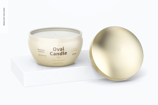 Oval candle tin mockup, perspective
