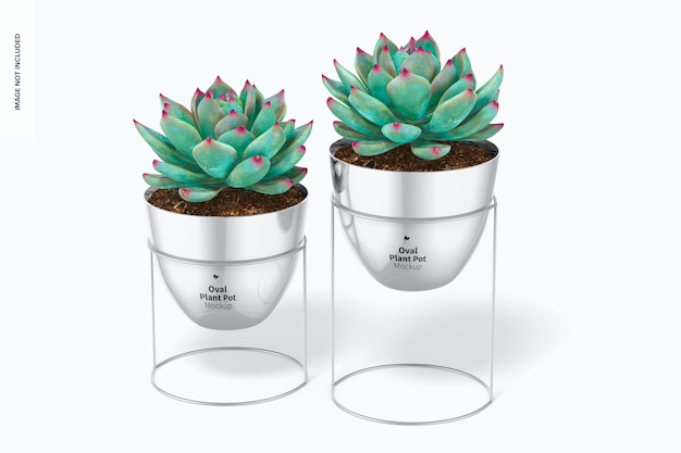 Vasi per piante ovali con mockup di supporto, vista frontale