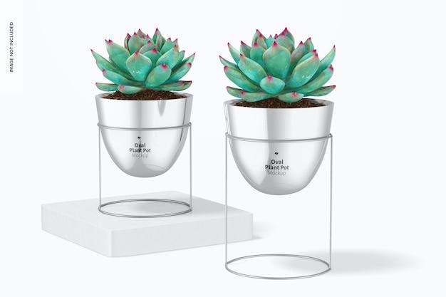 Vasi per piante ovali con stand mockup, su e giù