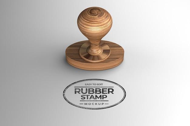 Oval shaped wooden stamp mocku