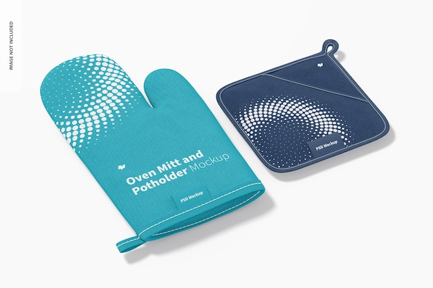 Oven mitt and potholder mockup perspective view