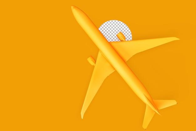 노란색 배경에 최소한의 여객기 오버 헤드. 3d 렌더링