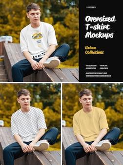 대형 티셔츠 목업 도시 스타일. 디자인은 이미지 디자인 티셔츠, 컬러 티셔츠, 헤더 질감을 사용자 정의하기 쉽습니다.