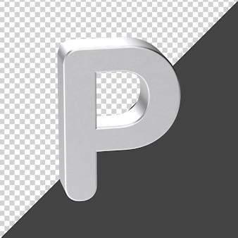 3d 렌더링에 실버로 만든 p 편지 3d 현실적인 편지 p