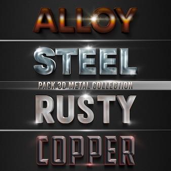 Пакет 3d металлическая коллекция текстовый стиль эффект шаблон дизайн