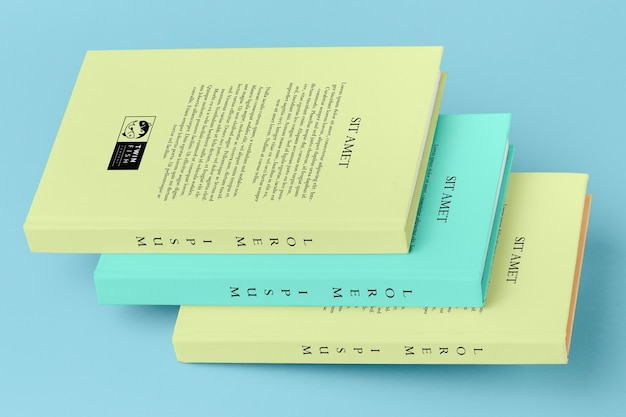Pack of different book mock-ups