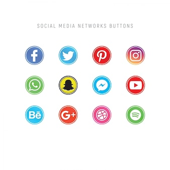 Pack of social media network buttons