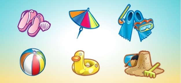Pack of summer icons psd