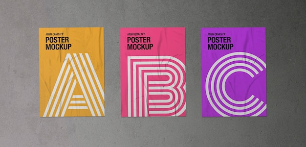 Pack of three crumpled posters mockup