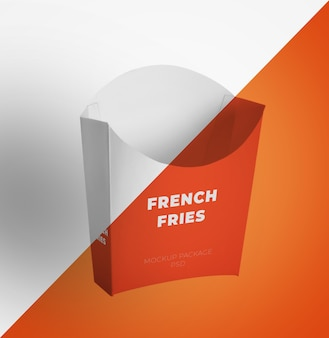 Package container for french fries mockup