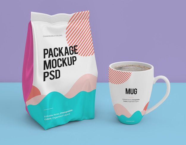 Package and mug mockups with changeable design