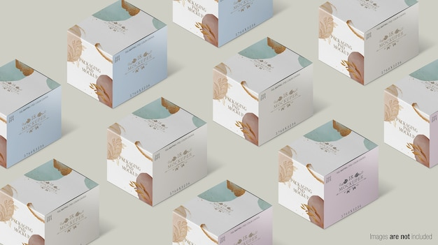 Упаковка коробки коллекции макет изолированные