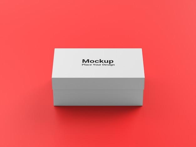 Макет концепции упаковочной коробки на красном фоне