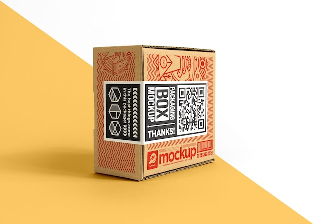 Packaging cardboard box with sticker label mockup