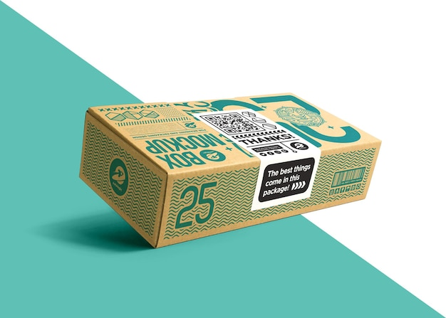 Упаковочная картонная коробка с макетом наклейки