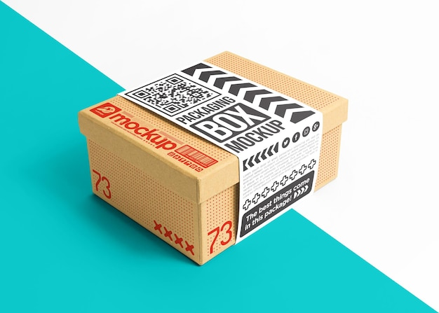 Packaging cardboard box with sticker  mockup