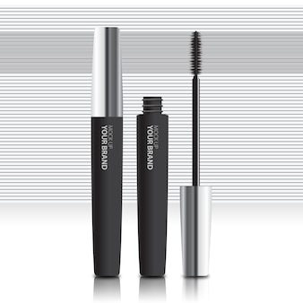 Packaging cosmetic mascara mock up