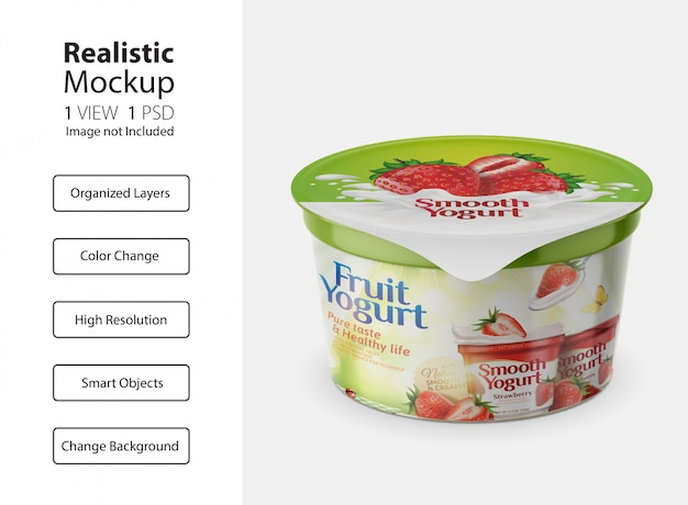 Packaging design yogurt cup mockup