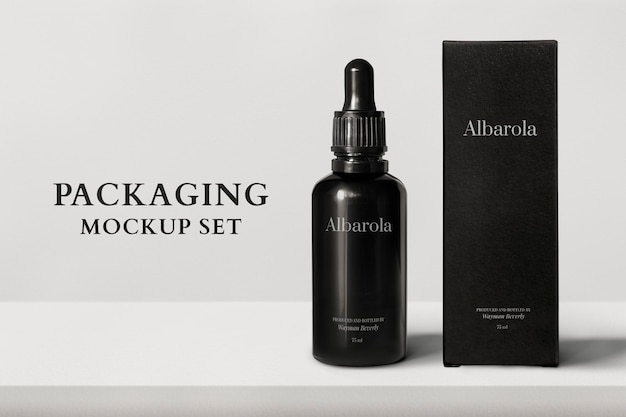 Packaging mockup psd with dropper bottle and box