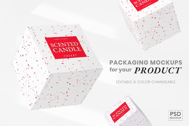 Confezione mockup psd con arte a pastello rosso
