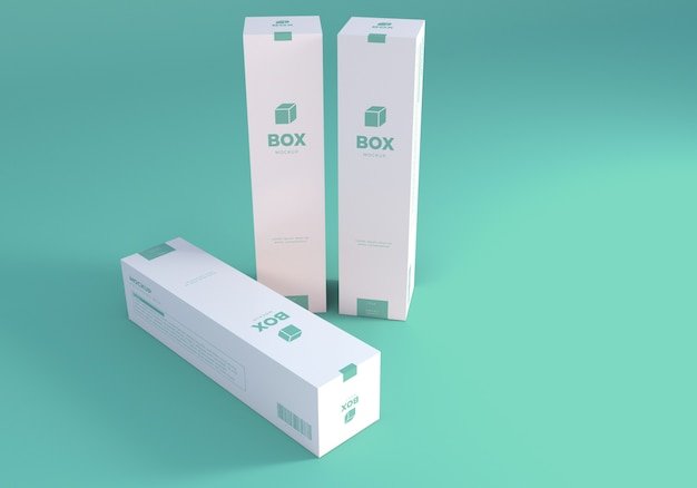 Packaging tall boxes mockup