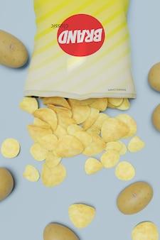 Packet snack potato product 3d render model for product mockup design.