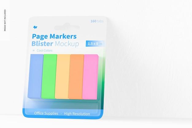 Mockup di blister di marcatori di pagina, vista frontale