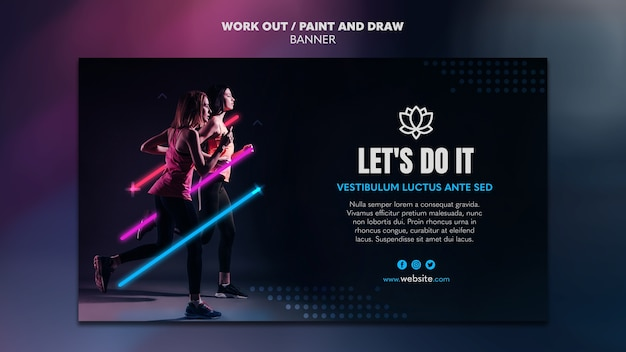 페인트 및 그리기 운동 배너 템플릿
