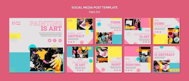 Шаблон сообщения в социальных сетях paint art concept