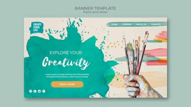 Paint brushes and colours banner