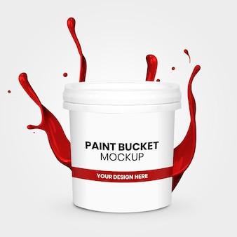 Paint bucket mockup with splash