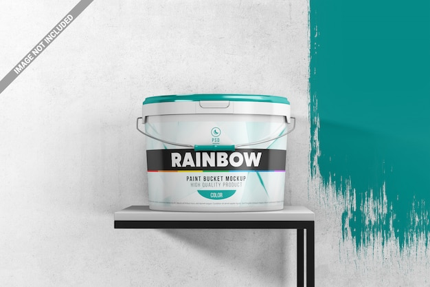 Paint bucket on a stand scene mockup