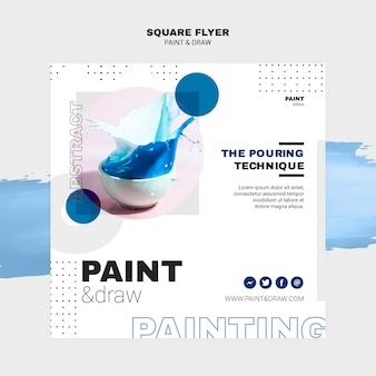 Paint concept square flyer template