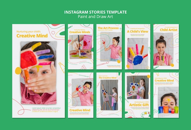 Paint & draw art instagram stories template