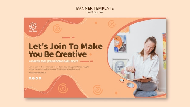 Dipingi e disegna il concetto di modello di banner
