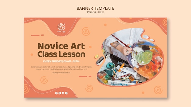 Paint&draw banner template design