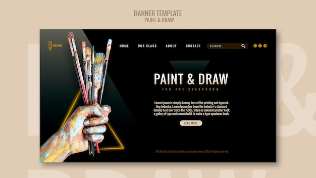 Paint and draw banner template