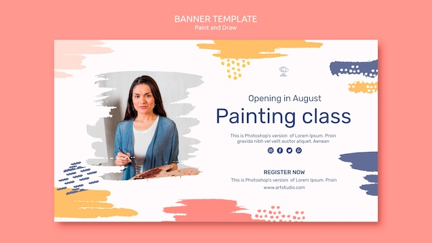 Paint & draw concept banner template