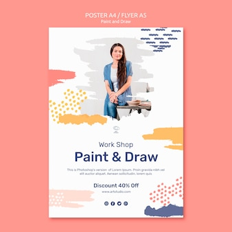Paint & draw concept flyer template