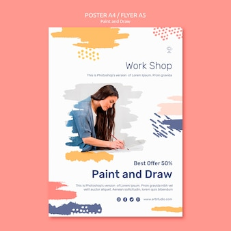 Paint & draw concept poster template