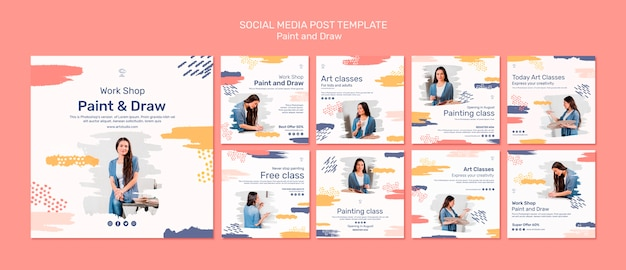 Paint & draw concept social media post template