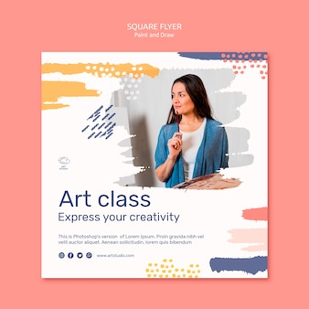 Paint & draw concept square flyer template