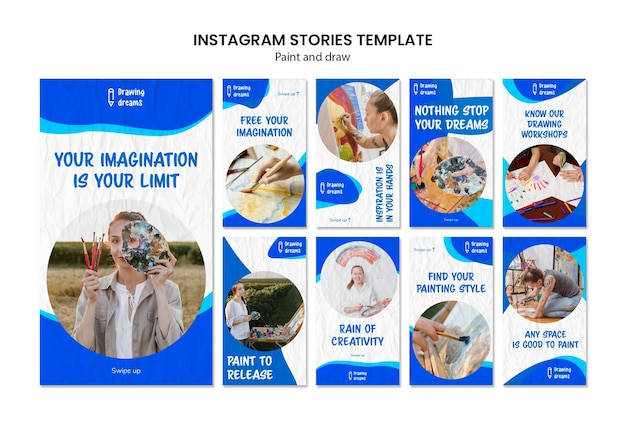 Paint and draw instagram stories template