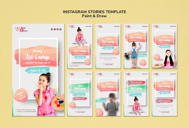 Paint & draw instagram stories template
