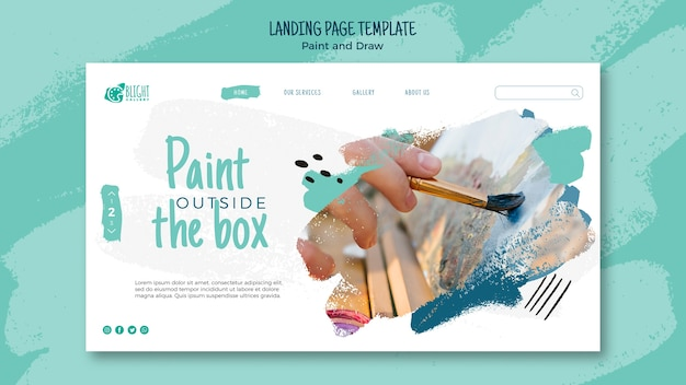 Paint and draw landing page design