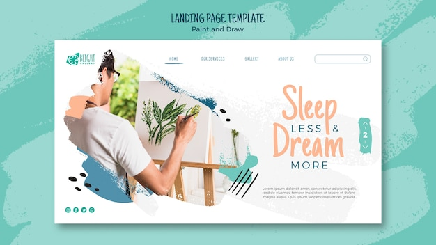 Paint and draw landing page template