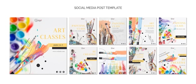 Paint and draw social media post template