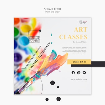 Paint and draw square flyer template