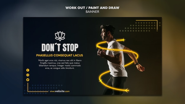 Paint and draw work out banner template concept