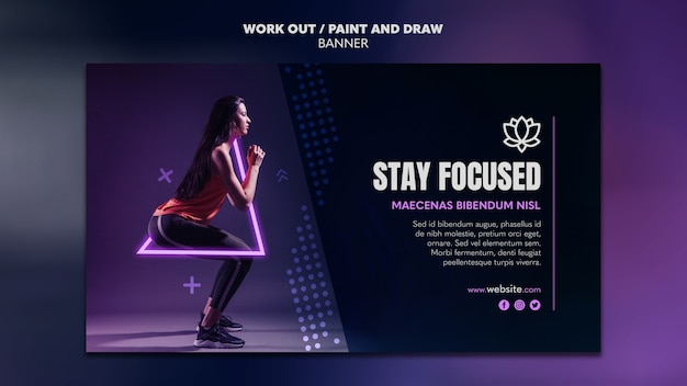 Paint and draw work out banner template design